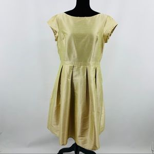 eShakti Gold Cap Sleeve Scoop Neck Dress